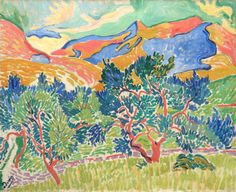 Early Abstraction: Andre Derain, Mountains at Collioure, 1905, oil on canvas, 81.3 x 100.3 cm