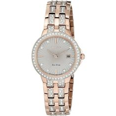 Citizen Women's 'Silhouette' Quartz Stainless Steel Casual Watch... ($239) ❤ liked on Polyvore featuring jewelry, watches, citizen watches, quartz jewelry, quartz wrist watch, swarovski crystal jewelry and citizen wrist watch