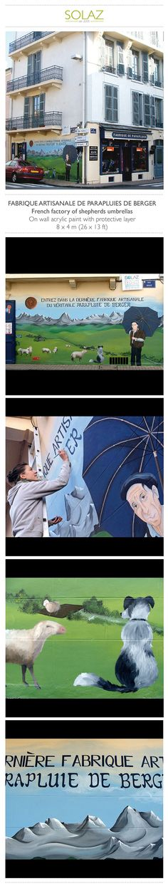 FABRIQUE DE PARAPLUIES  French umbrella factory by Helene Bataille, via Behance -  www.designbysolaz.com #drawing #illustration #painting #paint #mural #wallpainting #umbrella #sheet #dog #shepherds #landscape #mountains #artisanal #shop #factory #handwork
