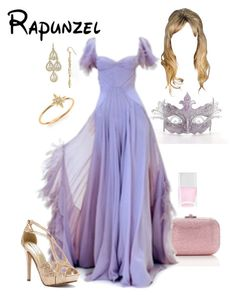"""Disney - Rapunzel"" by briony-jae ❤ liked on Polyvore featuring Judith Leiber, Carolee LUX, Touch Ups, Nails Inc. and mizuki"