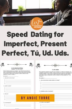 Watch your students speak Spanish as they play Spanish Speed Dating or La cita rápida, three speaking activities for Spanish 1, 2, Spanish Grammar, Ap Spanish, Grammar And Vocabulary, Spanish Lessons, How To Speak Spanish, Spanish Games, Spanish Activities, Group Activities, Present Perfect