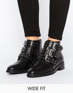 Discover Fashion Online Shop the latest ASOS ASHER Wide Fit Leather Studded Ankle Boots trends with ASOS! Studded Ankle Boots, Buckle Boots, Black Ankle Boots, Ankle Booties, Combat Boots, Bootie Boots, Shoe Boots, Flat Booties, Women's Shoes