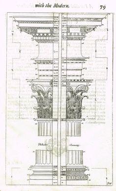 """Freart's Ancient Architecture - """"PALLADIO - SCARNOZZI - F:75"""" - Copper Engraving - 1728 #ancientarchitecture"""