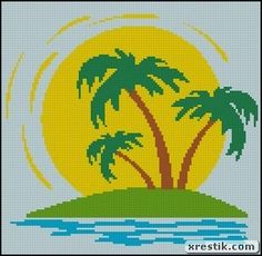 scheme download Island nature landscape island embroidery
