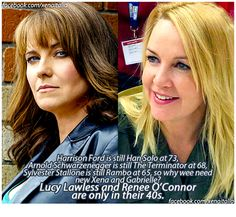 Xena and Gabrielle Xena Warrior Princess Cast, Sara Gilbert, Lucy Lawless, Princess Pictures, Sylvester Stallone, Badass Women, Movie Stars, Fangirl, Hollywood
