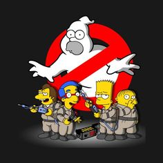 Simpsons T-Shirt by NemiMakeit aka NoemiFadda. HOMERBUSTERS is a Simpsons and Ghostbusters mashup t-shirt featuring Homer Simpson as a ghost. Cartoon Kunst, Cartoon Drawings, Cartoon Art, Cartoon Characters, Homer Simpson, Futurama, The Simpsons, Los Simsons, Die Geisterjäger