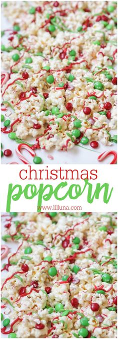 Christmas Popcorn - dipped in white chocolate and drizzled with M&Ms, crushed candy canes and candy melts! The perfect Christmas treat for the family