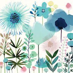 Meadow Flowers I - Kunst - Art Watercolor, Watercolor Flowers, Green Watercolor, Arte Online, Online Art, Illustration Art, Illustrations, Painting Inspiration, Creative Art