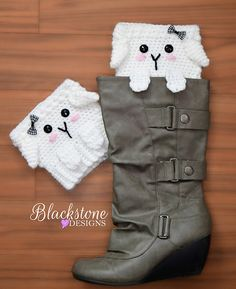 Peeping Sheep Boot Cuffs crochet pattern from Blackstone Designs Perfect for yarn lovers or Easter festivities.