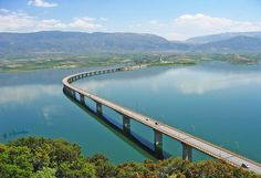 Lake Polyphytos Bridge - Macedonia, Greece;  4501 feet long;  completed in 1975;  photo by bilwander, via Flickr