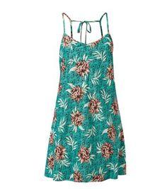 Green Tropical Print Strappy Dress