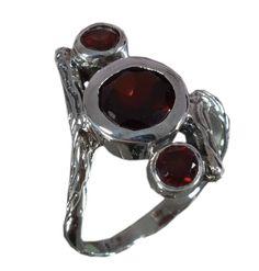925 Solid Sterling Silver Ring Natural Garnet Gemstone US Size 7 JSR-614 #Handmade #Ring