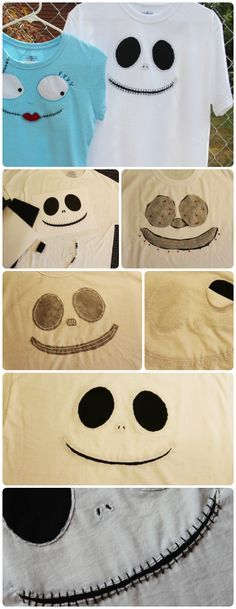 A Disney craft project just in time for Mickey's #NotSoScary Halloween Party! See how to make these Jack Skellington & Sally t-shirts with step-by-step visual instructions & pattern print outs: http://blog.undercovertourist.com/2013/09/disney-craft-jack-skellington-sally-t-shirts-in-time-for-mickeys-not-so-scary-halloween-party/ #DIY #Disney