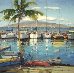 Harbor Fun (Lahaina Harbor) - Original painting by Ronaldo Macedo size: 36x36 | for pricing/availability visit www.lahainagalleries.com or email us: lgi@maui.net Trip To Maui, Classical Realism, Hawaiian Art, Virtual Art, Tropical Art, Seascape Paintings, Beach Art, Pictures To Paint, Painting Inspiration