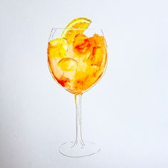 Illustration of an Aperol Spritz by me