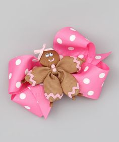 Take a look at this Gingerbread & Pink Polka Dot Bow Clip Set by Picture Perfect Hair Bows on #zulily today!