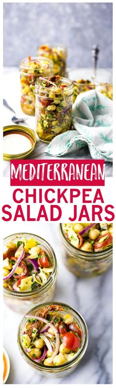 Mediterranean Chickpea Salad Jars with artichokes and sundried tomatoes are the perfect packable lunch (high protein vegetarian snacks) Lunch Recipes, Whole Food Recipes, Cooking Recipes, Healthy Recipes, Cooking Tips, Dessert Recipes, Delicious Recipes, Freezer Recipes, Freezer Cooking