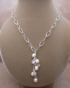 Waterfall -- South Sea Pearls and Moonstone drop necklace.  via Etsy.