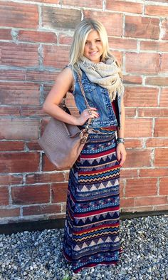 Outfit of the day! Aztec printed maxi skirt featured with new jean jacket and fringe infinity scarf .
