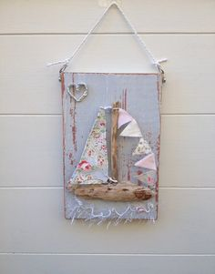 Driftwood Boat Wallhanging Shabby Chic Boat by ChandeliersandRoses on Etsy