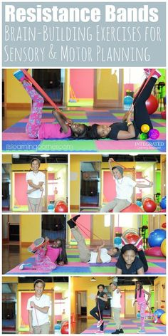 Resistance Bands: Brain-Building Stretchy Band Exercises for Sensory Integration, Motor Planning and Crossing the Midline - Integrated Learning Strategies Sensory Motor, Sensory Diet, Gross Motor Activities, Gross Motor Skills, Sensory Activities, Physical Activities, Activities For Kids, Sensory Tubs, Sensory Rooms
