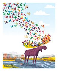 Moose in Zen - Print for kids - Limited Edition/200