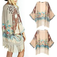 Package includes:1* Hot Gypsy Bohemia Tassel Fringe Floral Chiffon Kimono Loose Cardigan Top Blouse. Fashionable bohemian cardigan with tassel and top grade floral print. Material: Chiffon.