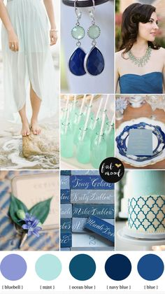 bluebell mint navy blue wedding : beach wedding inspiration