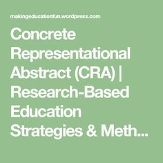 Concrete representational abstract cra to be the o for Cra research