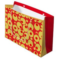 Large Red and gold circles gift bag. $11.95