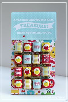 Teachers are Treasures - love the little candy wraps #teacherappreciation #gifts #teachers