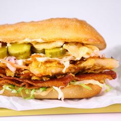 chicken sandwich.  Fried chicken boneless breast, bacon, slaw, pickles, 1000 dressing sandwich spread on a hogie bun.....YUM (if you want to be really naughty, add your favorite kettle chips ON the sandwich)