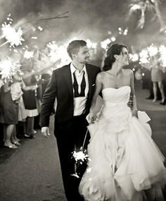 Sparkler exit at this beautiful outdoor wedding reception