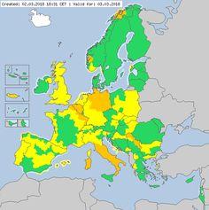 Meteoalarm - severe weather warnings for Europe - Valid for 03.03.2018