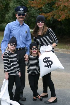 Family Halloween Costume.  Cop and Robbers. Really easy and fun costume idea