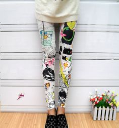 Punk Style Scrawl Color Print Pattern Elastic Cotton Leggings in Leggings | DressLily.com
