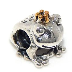 925 Solid Sterling Silver Frog Wearing a Gold Tone Crown Charm Bead >>> To view further for this item, visit the image link.