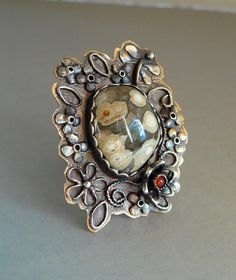 Bold Artisan Dragonfly Ring made of Ocean Jasper, Carnelian, Oxidized Sterling, and Recycled Copper - size 8 - OOAK