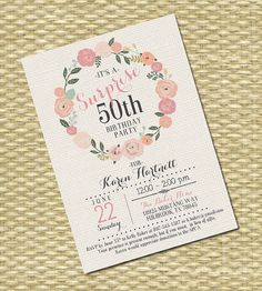 Adult Birthday Invitation - Milestone Birthday - Any Event - Floral Circle Burlap Typography