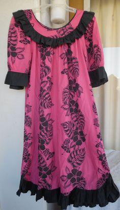 Hawaiian MuuMuu Dress | XL Large | Pink Black Floral Hawaii MuMu #Hawaiian #Hawaiian #Casual