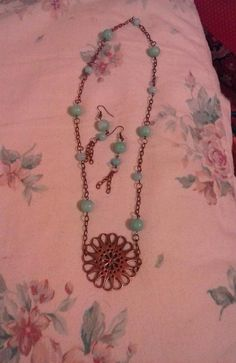copper - n - jade set - Jewelry creation by penpen Jade Beads, Copper Jewelry, Beaded Necklace, Jewelry Making, Jewels, Chain, Earrings, How To Make, Beaded Collar