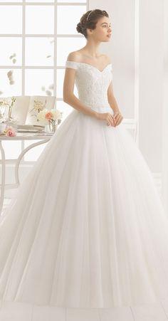 Aire Barcelona off the shoulder lace wedding dresses 2016