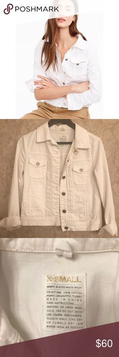 J. CREW Destroyed Denim Jacket J.CREW has done it again... A wear-with-everything layer in classic white denim that's finished with iconic vintage details (like silver buttons) that will never go out of style. Cotton. Machine wash. Online only. Size XS. Worn gently maybe twice. From a smoke-free home. J. Crew Jackets & Coats Jean Jackets
