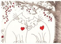 Ink Drawing - cats friendship, love - original
