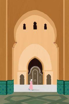 Hassan II mosque on Behance Islamic Wallpaper, Quran Wallpaper, Minimalist Wallpaper, Minimalist Art, Watercolor Illustration, Graphic Illustration, Ramadan Poster, Islamic Cartoon, Background Design Vector