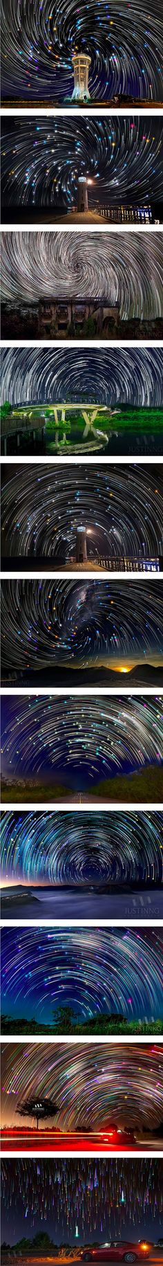 Singapore-based astrophotographer Justin Ng takes long exposures of his native country's night skies, capturing spectacular, spiraling displays of star trails.