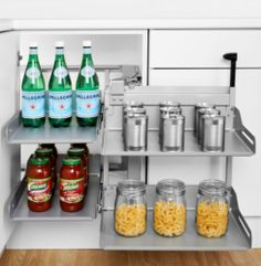 This corner unit next to sink, under the cutlery drawer Peka Libell Magic Corner Comfort (500-600mm Door) - Grey Basket | Supplier - LDL Kitchen and Furniture Fittings & Accessories