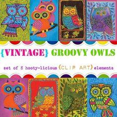 Digital Clip Art --  Vintage Groovy Owls (Instant Download). $2.25, via Etsy.