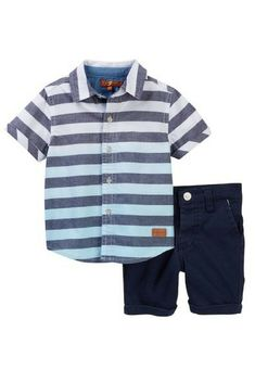 86e23cd49c1 7 For All Mankind   Short Sleeve Button Up & Chino Short Set (Baby Boys)    Nordstrom Rack