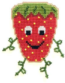 Flowers 2 Flowers Strawberry Buddy - Cross Stitch Kit. Kit includes 14 Ct. Perforated paper, beads, threads, needles and pattern.  <br /> Finished size: Approx.